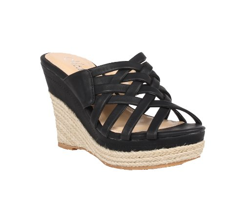 Image of MODESTA DOBEY-02 Women's multi bands slipper on wedge with espadrille bottom and PU upper (B008PQ1AEG)