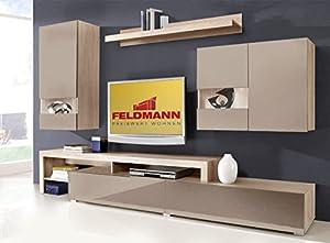 wohnwand anbauwand 167705 esche grau cappuccino hochglanz k che haushalt. Black Bedroom Furniture Sets. Home Design Ideas