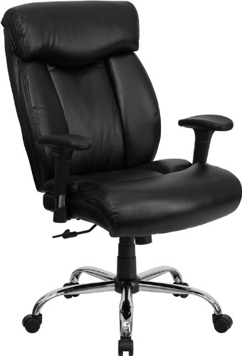 Flash Furniture GO-1235-BK-LEA-A-GG Hercules Series 350-Pound Big and Tall Black Leather Office Chair
