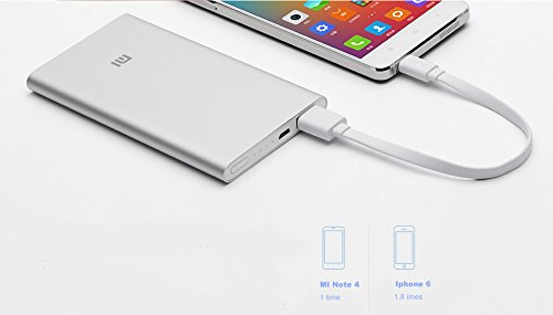 Xiaomi 5v 2a 5000mah Power Bank External Battery Charger for Smartphones and Tablets, Iphone 5s, Galaxy S4, Ipad Air Mini, Galaxy Tab Original with Warranty (Silver-5000mah)