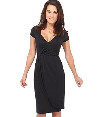 Cap Sleeve Wrap Jersey Dress (8,Black)