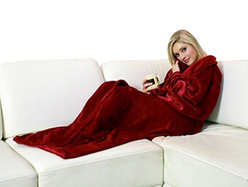 Walser 13682 Kuscheldecke Snuggle mit Ärmeln Rot, das perfekte Geschenk für Weihnachten, flauschig weich - 150 x 180 cm, ideal für die kalte Jahreszeit