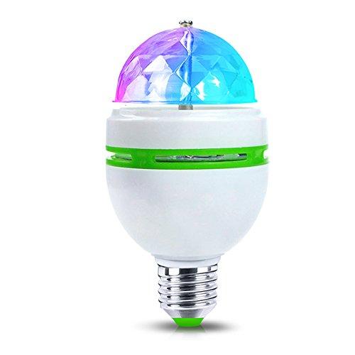 KSTON E27 3W Colorful Auto Rotating RGB LED Bulb Magic Ball Lamp Snowflake Projector Christmas Lights for Party Disco DJ Show Christmas (Mini led blub)