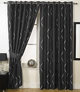 Black Silver Eyelet Curtains Embroidered Faux Waves 66 39 39 X 108 39 39 Kitchen Home