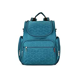 Stylish Travel Diaper Backpack Bag Waterproof Mummy Baby Diaper Bag Backpack with Changing Pad& Stroller Straps (Peacock Green )