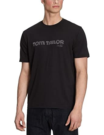 Tom Tailor - T-Shirt - Manches 1/2 - Homme - Noir-Tr-Ce-9 - FR : 47/48 (Taille fabricant : XS)
