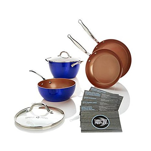 Simply Ming Diamond Series 6-piece Cookware Set with Technolon+ - Blue (Ming Tsai Cookware compare prices)