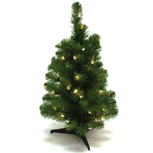 Wideskall Tabletop Christmas Pine Tree 2 Feet Artificial with 30 ...