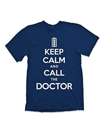 Keep Calm and Call The Doctor 'Dr Who' T-shirt - Navy (XXL)