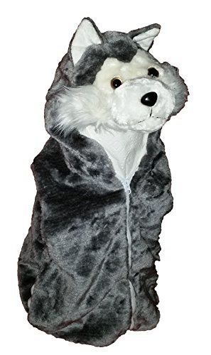 Fashion Vest with Animal Hoodie for Kids - Dress Up Costume - Pretend Play (Medium, Wolf) (Boys Wolf Costume)