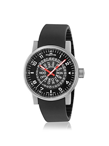 Fortis Mens 623.10.51 SI.01 Spacematic Classic Black/Black Stainless Steel Watch