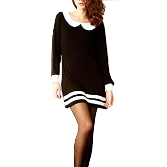 Long Sleeved Black Dress on Woman Peter Pan Collar Long Sleeve Shift Dress Black White Xs  Amazon