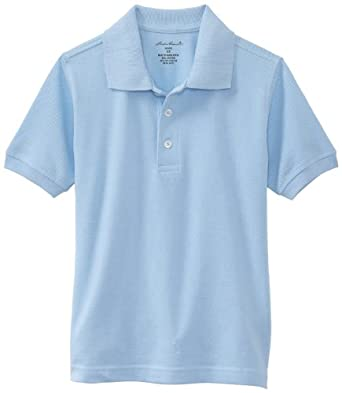 Eddie Bauer Little Boys' Uniform Short Sleeve Pique Polo Shirt, Light Blue, 4
