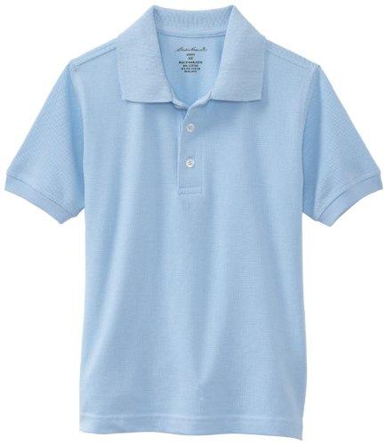 Eddie Bauer Little Boys' Uniform Short Sleeve Pique Polo Shirt,Light Blue,Large