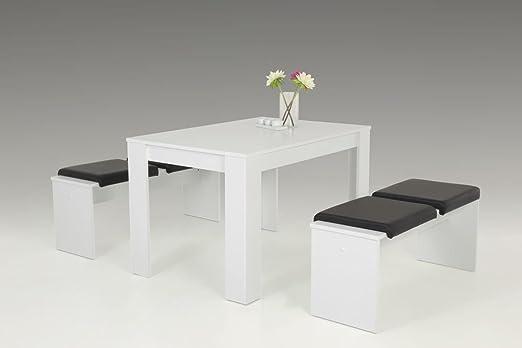 Essgruppe weiß matt, 1 Esstisch, Maße: B/H/T ca. 120/76/80 cm und 2 Bänken, Maße: B/H/T je ca. 110/45/35 cm, 4 Klemmkissen in schwarz