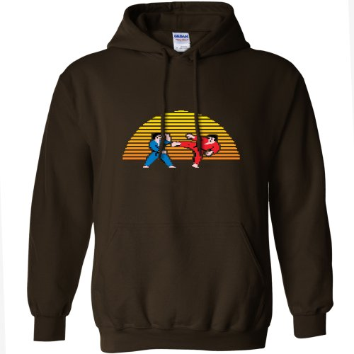 Mens Karate Sunset Hoodie - Dark Chocolate - S to XX-Large