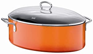 silit passion 8 1 4 quart oval roasting pan with lid wild orange kitchen dining. Black Bedroom Furniture Sets. Home Design Ideas