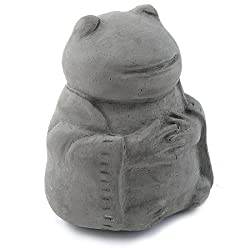 Meditating Frog - Cast Stone Desk Pet in Grey Stone