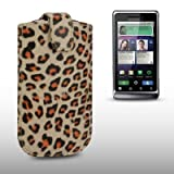 MOTOROLA MILESTONE 2 LEOPARD PRINT PU LEATHER POCKET POUCH COVER CASE BY CELLAPOD CASES