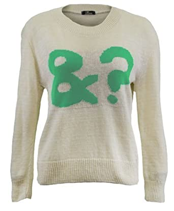 Ladies Knitted Long Sleeve Jumper Celebrity Jumper & ? (and what) Green Print