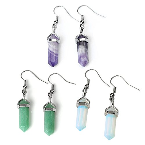 JOVIVI Womens Natural Amethyst Aventurine Opalite Crystal Chakra Pendant Earrings Set (Crystal Point Earrings compare prices)