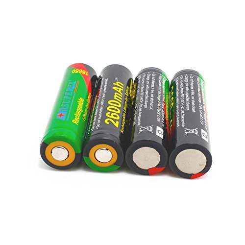 SUPEREX? 4PCS 18650 3.7V 2600mAh Li-ion Rechargeable Batteries With PCB Protected (Plz pay attention to the size: 68.3X18.6mm, it's industrial use battery and only be used in specific professional equipments)