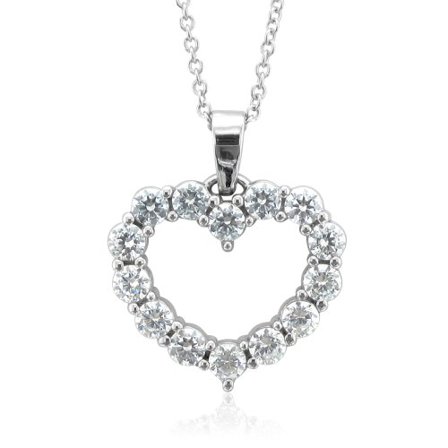 Certified 14k White Gold Heart Natural Diamond Necklace Pendant (G, SI2, 0.50 cttw)