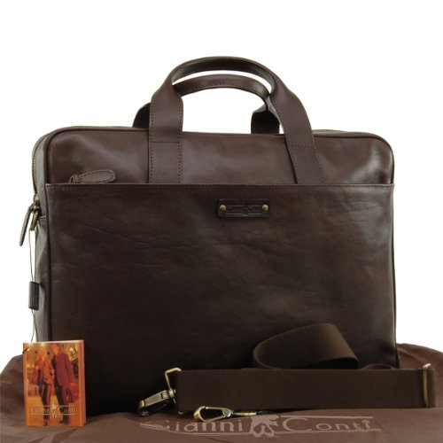 Gianni Conti Briefcase A4 - Maremma - Dark Brown