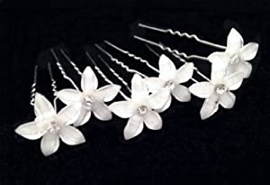 MY LIFE Pack of 6 White Flower Bridal Wedding Hair Pin with Crystal Center