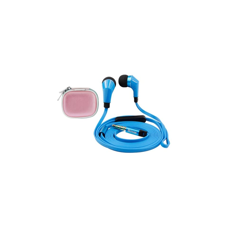 IKross In Ear 35mm Noise Isolation Stereo Earbuds W Microphone Pink Headset Case