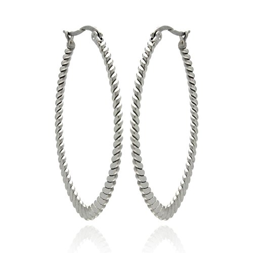**Lead Free** Stainless Steel Oval Ribbed Hanging Hoop Earrings With Hinge And Notch Post For Women (29Mm X 40Mm X 1.5Mm)