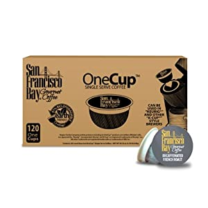 San Francisco Bay Coffee, Decaf French Roast, 120 OneCup Single Serve Cups