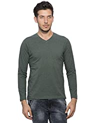 Clifton Melange Mens Full Sleeve V-Neck T-Shirt -Bottle Green