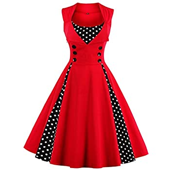 Babyonline Women Vintage Dresses Black Polka Dot 1950s Retro Rockabilly Costume