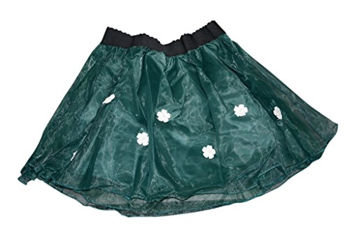 Am Clothes Sweet Girls Three Layers Organza Flowers Are Pearly Mini Skirt (Green) front-447219