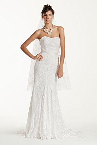 Petite Strapless Lace Wedding Dress with Ribbon Detail Style 7WG3381, Soft...