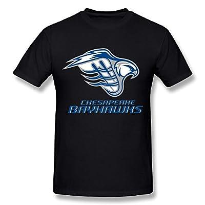 FENGTING Men's Chesapeake Bayhawks MLL Logo T-shirt Black Tee