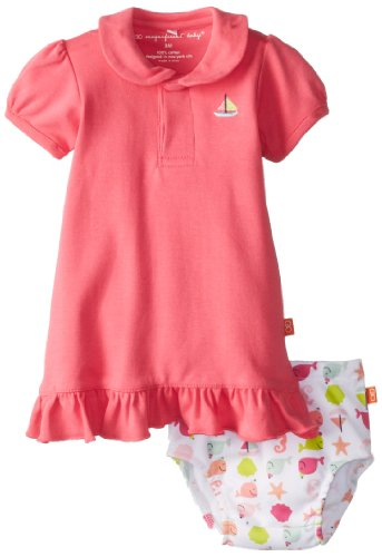 Magnificent Baby Baby-Girls Newborn Polo Dress With Diaper Cover, Hot Pink, 9 Months