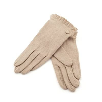 Wool Beige Gloves