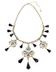 M&S Collection Diamanté Filigree Cluster Necklace