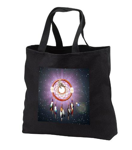 Dream Essence Designs Native American - Dreams Catch Em - Tote Bags - Black Tote Bag Jumbo 20W X 15H X 5D