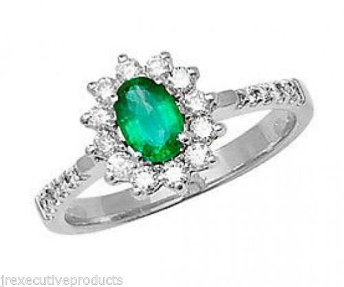 9ct White Gold Real Emerald & 0.33ctw Diamond Ring (available in sizes G - Z )
