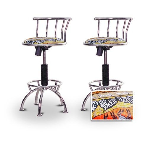 "2 24""-29"" African - Serengeti Seat Chrome Adjustable Specialty / Custom Barstools Set"