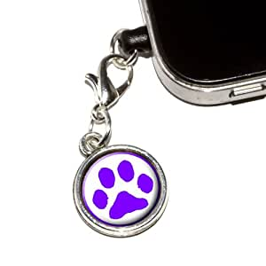 Graphics and More Paw Print - Purple Anti-Dust Plug Universal Fit 3.5mm Earphone Headset Jack Charm for Mobile Phones - 1 Pack - Non-Retail Packaging - Antiqued Silver