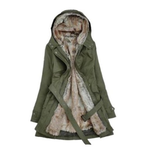 Hee Grand Women Thicken Fleece Faux Fur Warm Winter Coat Chinese XL Army Green
