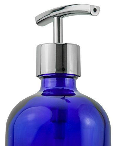 Refillable Liquid Soap Dispenser - Designer Cobalt Blue Bottle / Mirror Polished Silver Hand Pump with Stainless Steel Spring Mechanism - Decorative in the Kitchen or Bathroom (Used Stainless Steel Countertops compare prices)