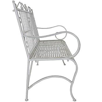 Titan Outdoor Antique White Metal Bench Chair Porch Patio Garden Deck Decor