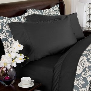 Solid Black 300 Thread Count Twin Extra Long Size Sheet Set 100 % Egyptian Cotton 3Pc Bed Sheet Set (Deep Pocket)Twin Xl By Sheetsnthings front-1042282