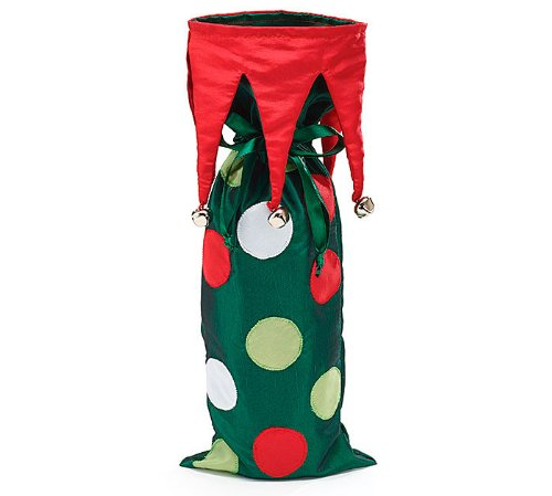 Elf Jingle Bell Polka Dot Wine Bottle Bag