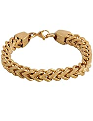 The Jewelbox 316L Stainless Steel 18K Gold Plated Wheat Design Mens Bracelet
